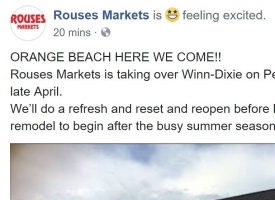 Rouses announcement on Facebook