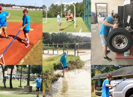 Collage of photos of teens working as part of the City of Orange Beach's 2019 summer youth work program