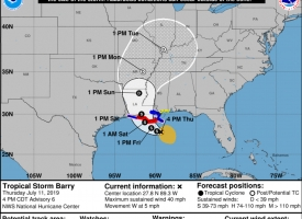 Forecast cone for Tropical Storm Barry in the Gulf of Mexico at 4 p.m. Thursday, July 11, 2019